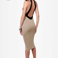 LULUS Exclusive Longing For Beige Midi Dress