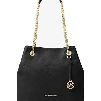 Michael Michael Kors Jet Set Large Leather Shoulder Bag Black