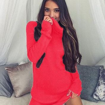 Streetstyle  Casual Red Plain High Neck Casual Mini Dress