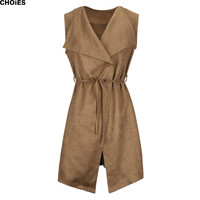 Women 4 Colors Faux Suede Panel Tied Waist Wide Lapel Long Waistcoat Sleeveless Casual Belt Slim Vest Coat Streetwear Plus Size