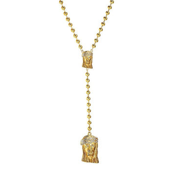 Jesus Face Rosary Pendant Stainless Steel Gold Tone Moon Chain Simulated Diamond