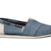 TOMS Shoes Blue Chambray Bimini Stitchouts Slip-on Men's Shoes,
