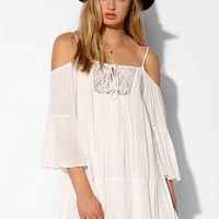 Honey Punch Gauze Cold Shoulder Swing Dress- White