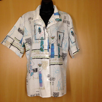 Vintage African Safari Women's Button Down Shirt / Size 18-20w / Zebra Print / Giraffes