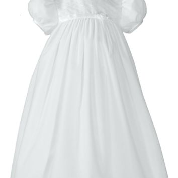 Girls Lattice Empire Waist Christening Gown w. Tricot Overlay 0-12M