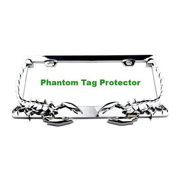 Phantom Tag Protector Front & Rear ABS Chrome Scorpion 2pcs Set Automobile License Plate Frames