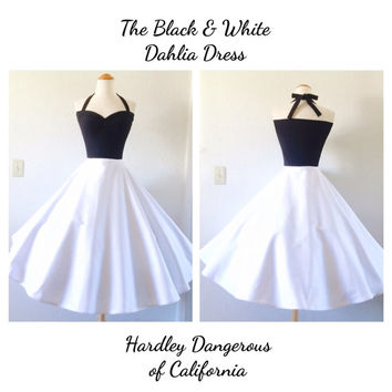 The Black & White Dahlia SATEEN Halter Dress, Stretch Knit Sleeveless Party Dress, Casual Wedding, Semi Formal Bridesmaid, 1950s Style
