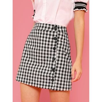 Black And White Button Up Gingham Skirt