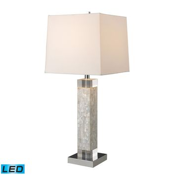 Luzerne LED Table Lamp In Mother Of Pearl With Milano Off White Shade Mother Of Pearl
