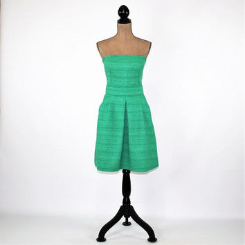 Strapless Dress Green Dress Summer Dress Women Party Dress Tweed Midi Dress Medium Size 10 Dress Banana Republic Womens Clothing