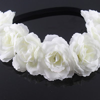 New Bohemian style multi color peony flower Garland head floral handmade Wreaths Crowns Wedding Hair Accessories kids  gift