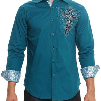 Tribal Fleur de Lis Cross Button Up Shirt SH440