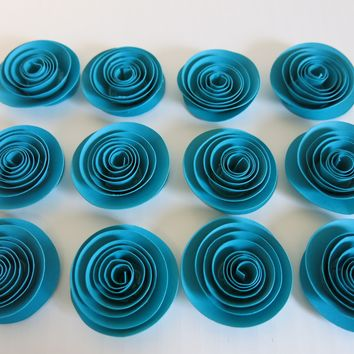 "Turquoise Blue paper Roses set of 12 Teal wedding flowers 1.5"" blooms  Bridal Shower Decor Floral Bouquet single rosette"