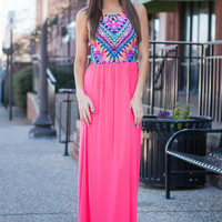 Wild Aspirations Maxi Dress, Neon Coral