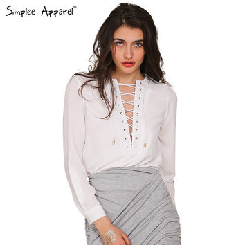 Lace up white chiffon blouse casual shirt Women tops long sleeve Cross