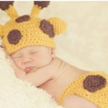 Outop Baby Crochet Giraffe Hat and Diaper Cover Set Photography Props Costume