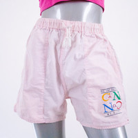 90s vintage baby pink cancun beach shorts, cotton cutoffs cut off 1990s 1980s 80s fashion clothing, spring summer 2014 retro retrofit urban