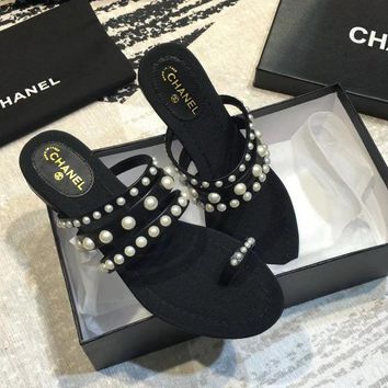 Chanel Stylish New Stylish Women Beach Home Pearl Leather Sandals Slippers Shoes Black I-ALS-XZ