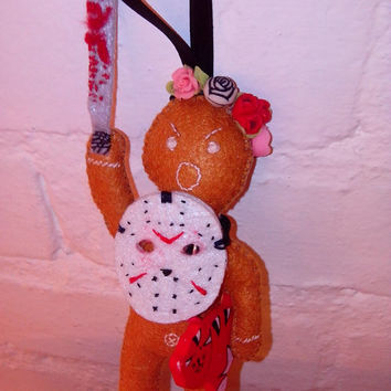 Advanced Creepy Cute Jason Gingerbread doll - Christmas geek ornament, felt stuffed doll, horror movie killer, halloween