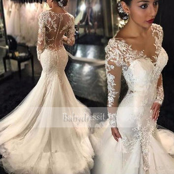 Sexy White Long Sleeve Wedding Dress 2017 Sheer Lace Tulle Floor Length See Through Custom Made Long Mermaid Wedding Dresses