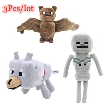 3Pcs/lot Minecraft Game Toys 18-24 cm Minecraft Creeper Wolf Skeleton Bat Plush Toys Soft Stuffed Toys For Kids Christmas Gifts