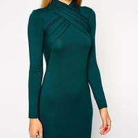 ASOS Midi Bodycon Dress with Twist Neck Detail
