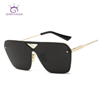 Queen College Men's Sunglasses Unisex Style Flat Panel Conjoined Lens Brand Design Alloy Frame Sun Glasses Oculos De Sol QC0324