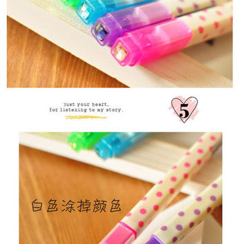 x6 Pcs Colorful Spot Erasable 2 side Highlighter Marker Pen For Photo Album Stationery School Supplies P27