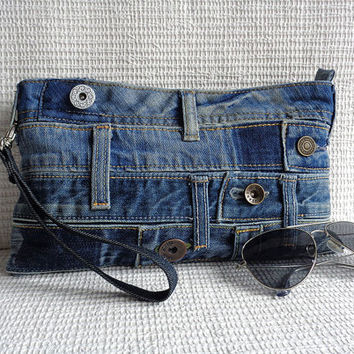 Denim wristlet clutch make up cosmetic zipper bag pouch case recycled summer mini