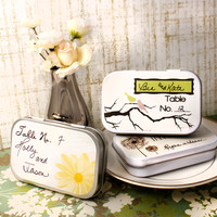 Tree Birds Personalized Wedding Place Setting Mint Tins, Place Cards, Wedding Favors, Candy Favors