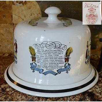 Vintage Advertising English Transferware Cheese Bell The Farmers Arms Poem God Speed the Plough