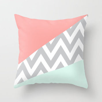 Mint & Coral Chevron Block Throw Pillow by daniellebourland | Society6