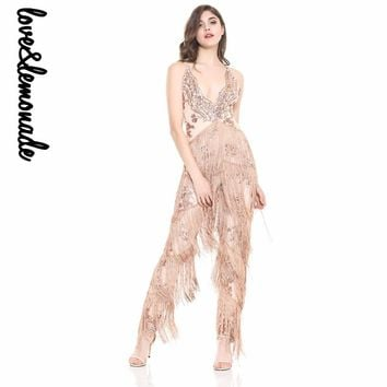 Sexy V-Neck Sequins With Tassel Stitching Jumpsuits Nude