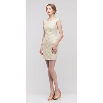 Ivory/Gold Above Knee Lace Fitted Cocktail Dress Tank Strap