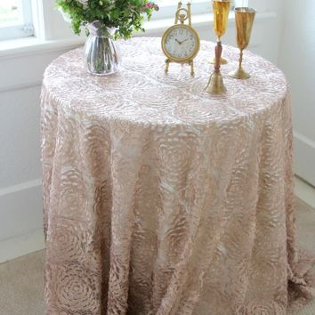 Champagne Lace Tablecloth | Lace Tablecloth Overlay |  Vintage Wedding