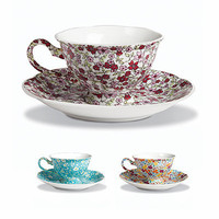 Two's Company Chelsea Tea Cup & Saucer Set