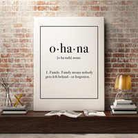 Ohana Lilio And Stitch Family art print, Printable quote print, Family Definition, Wall Art print, Typography Poster