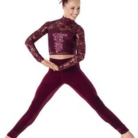 Weissman™ | Sequin Lace Crop Top Velvet Leggings