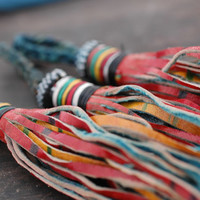 Mostly Red Multi-Colored African Tuareg Tassel / Goat Leather / Tribal, Nomad Leather Fringe / 1 Tassel / Jewelry Supply, Decor, Accessory