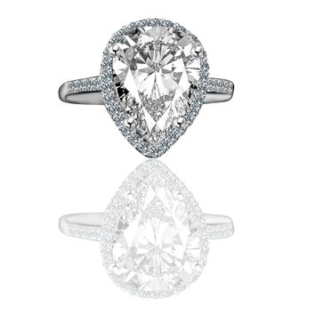 4 ct.Classic pear center w/halo settings ring, simulated diamond - diamond veneer® set in 14K gold 635R71421k