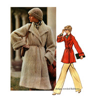 1970s VOGUE COAT PATTERN Christian Dior Patterns Mohair Wrap Coat Jacket Vogue 1023 Paris Original Size 14 Womens Sewing Patterns 36 Bust