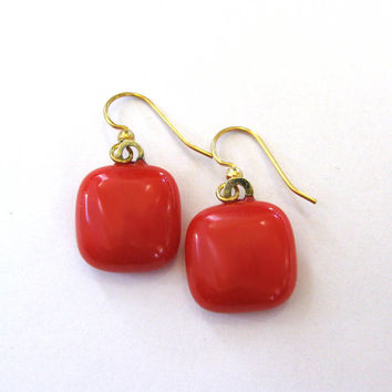 Red Earrings, Dangle Earrings, Fused Glass Jewelry, Red Jewelry on Etsy - Peyton - 2254 -4