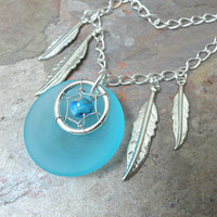 Aqua Blue Dream Catcher Necklace Sea Glass with Silver Feathers