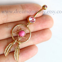 Dream Catcher Belly Button Ring, golden Feathers Navel Jewelry Piercing, Pink Dream Catcher Belly Button Ring
