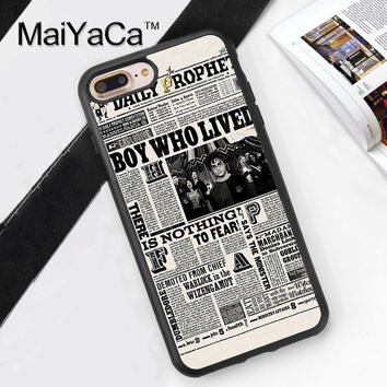 Harry Potter Newspaper Printed Soft TPU Skin Cell Phone Cases For iPhone 6 6S Plus 7 7 Plus 5 5S 5C SE 4 4S Back Cover Shell
