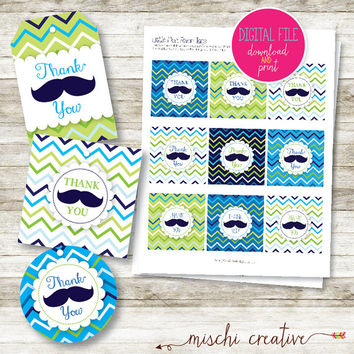 Little Man Moustache DIY Printable Favor Tags - 2 Styles!
