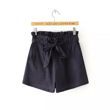 Stylish High Rise Cotton Women's Fashion Shorts [5013329092]