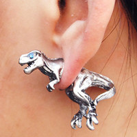 Silver 3D Dinosaur Stud Earrings