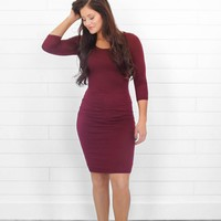 Simplistic Beauty Bodycon Midi - Wine