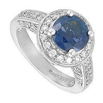Blue Sapphire and Diamond Engagement Ring : 14K White Gold - 4.00 CT TGW
